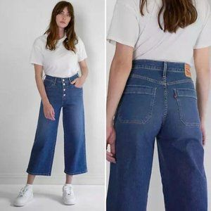 LEVI'S Mile High Cropped Wide Leg Jeans Button Fly